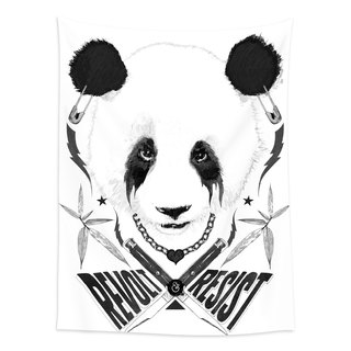 Black Metal Panda-Home Decor Home Decor Wall Mural Wall Tapestry Wall Murals Home Furnishing Decorations Interior Design Events Setup