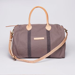 Weekend travel bag / Boyfriend Bag / L / light bean sand / leather strap / canvas
