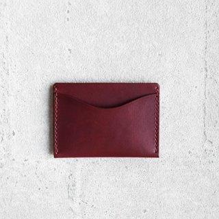 Burgundy vegetable-tanned cow hide leather card holder wallet