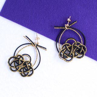 japanese style pierce earring / mizuhiki / japan / accessory / lotus
