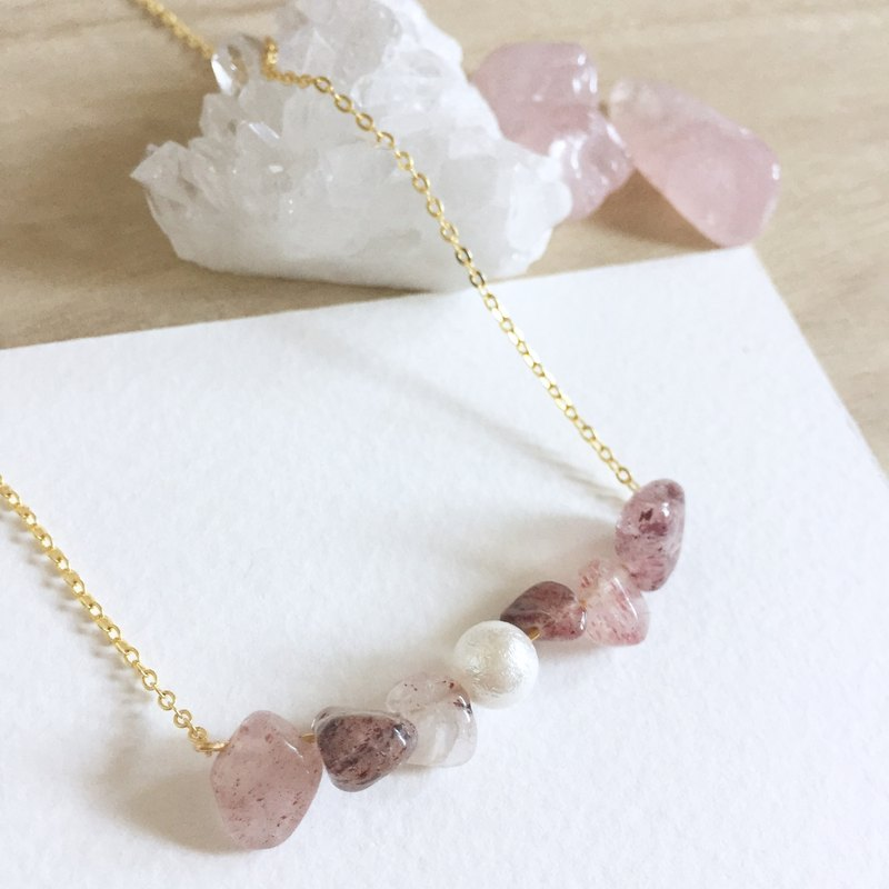 Candy Girl  Strawberry Quartz Pink Raw stone Necklace