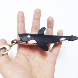 Xuan Leather - animal skin carving marine series killer whale leather pendant hanging buckle