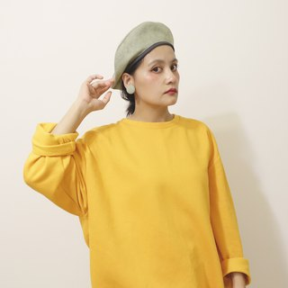 Beret / Painter Hat / Matcha Green Suede / Small Head Fuxing
