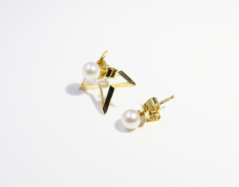 經典系列-不對稱星星珍珠耳環(14K金、AKOYA珍珠)