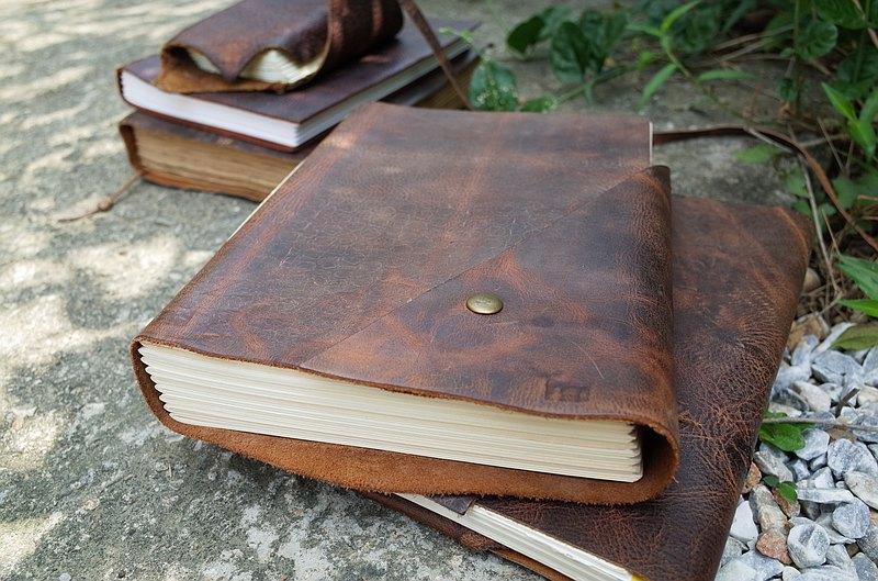 【中性版】線裝皮革手工書。手札。記事本。速寫本。N069