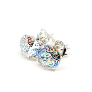 White 'Meteorite' Swarovski Crystal Earrings, Sterling Silver, 8mm Round
