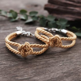 Flower knot rope bracelet in gold - friendship bracelet - wedding gift