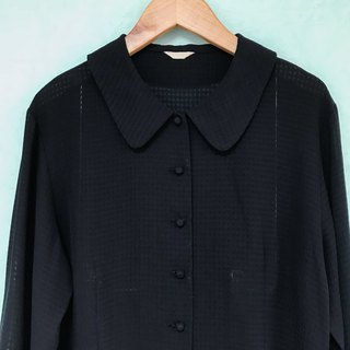 Top / Black Checkered Long-sleeves Blouse