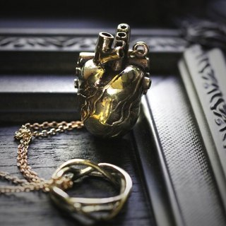 Anatomical Heart and Thorn Crown Charm Necklace by Defy - Unique Statement Pendant Jewelry Accessories