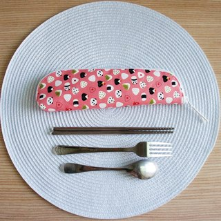 Lovely Japanese cloth custom [Panda Royal rice bowl cutlery bag, pencil] strawberry powder