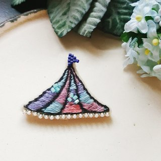 Embroidery pin [Dream Kozai Ko11] blue with pink and purple morning