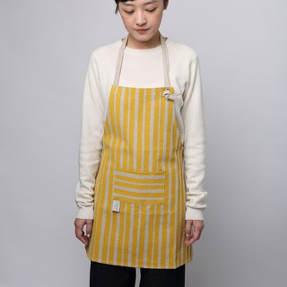 Reduced handprint cotton and linen apron children's version yellow