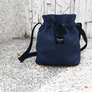 Minimalist canvas bucket bag-dark blue carry bag / oblique backpack / shoulder bag / bundle bag