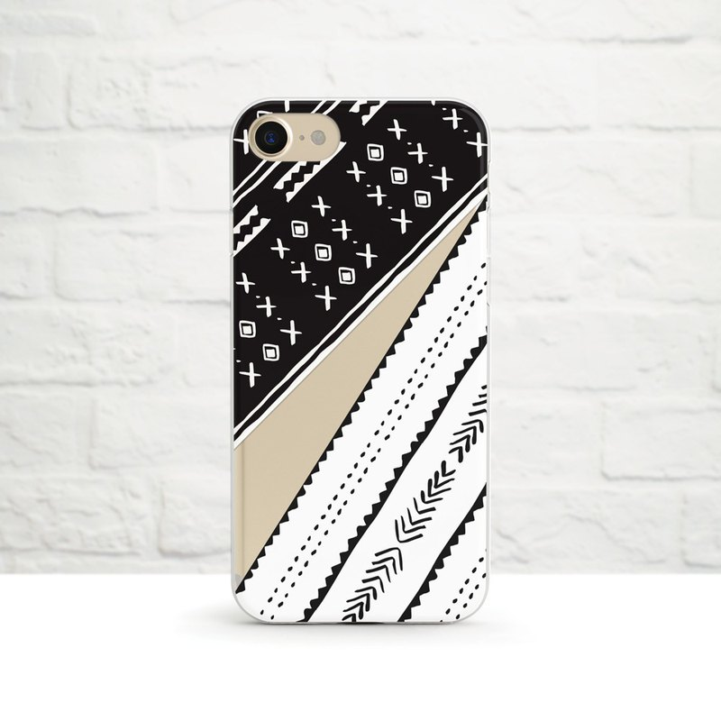 African Mudcloth Pattern Duo I, Clear Soft Case, iPhone series, Samsung