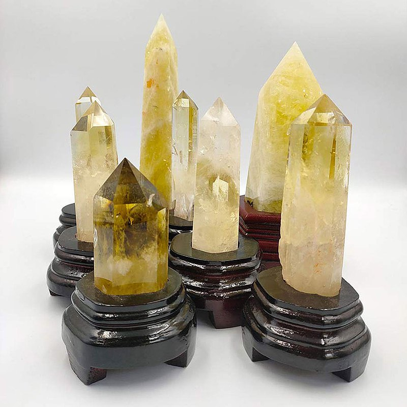 Lucky Citrine Pillar (with bottom seat)-A total of 8 types of feng shui ornaments