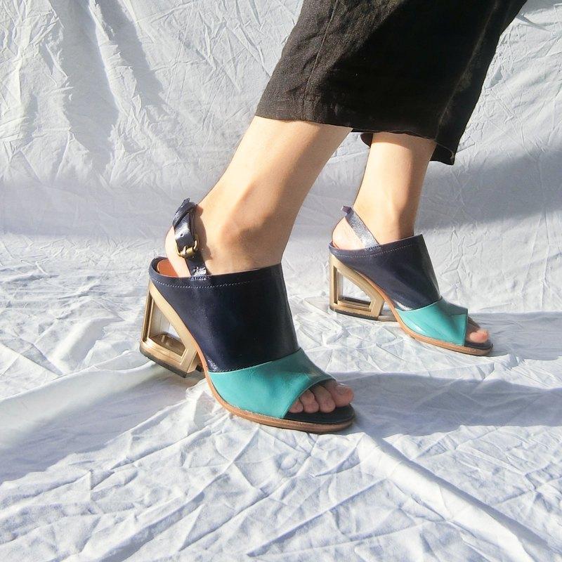 金屬高跟真皮魚口涼鞋 ||馬賽的藍色海岸 靛藍|| 8228