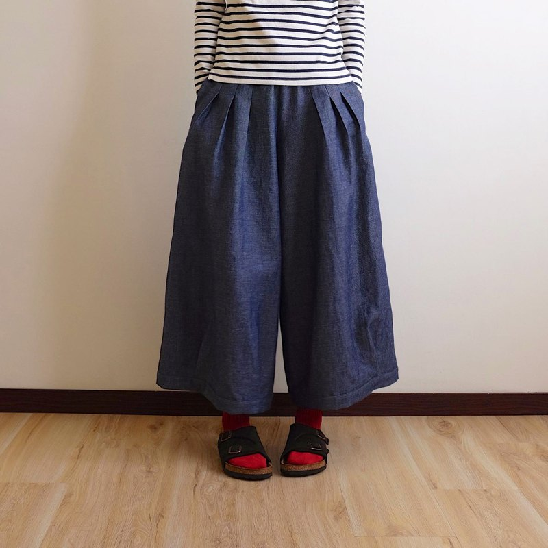 Everyday hand-made dress, playful girl, tannin, denim, blue pleated, wide pants, linen