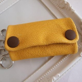 [Yellow × tea] pig leather soft key case [MTO] Leather 1616008