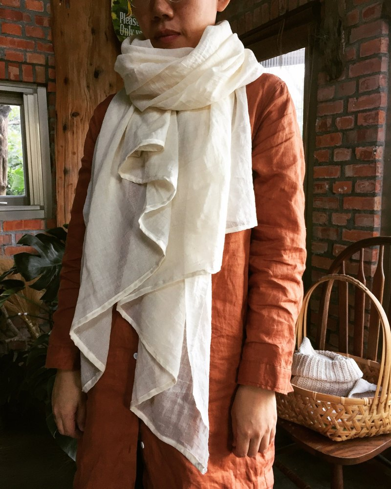 Air soft cotton yarn long dye-free shawl
