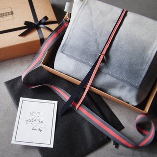 Side back diagonal back pack - gray x peach hand dyed canvas bag
