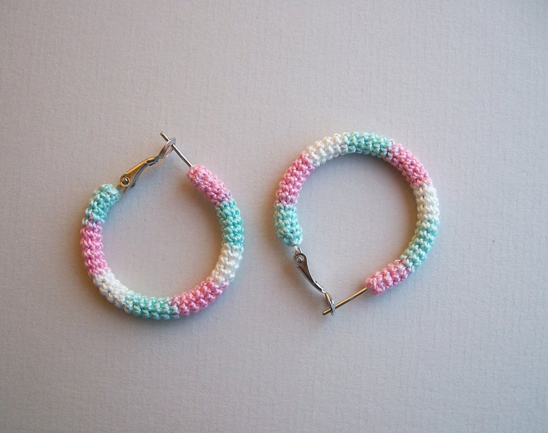 Marshmallows Crochet Tube Hoops, Small Pastel Hoop Earrings