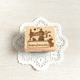 Usagi and classic sewing machine's handmade stamp