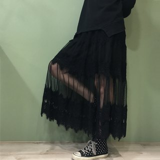[Skirt] personality lace mesh dress _ black
