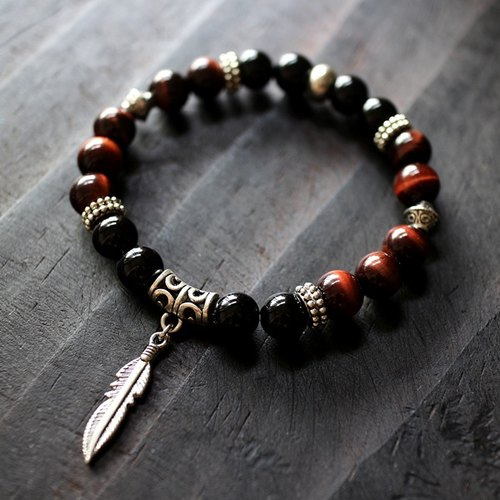 Muse neutral NO.3 Black Onyx red tiger eye ethnic style copper elastic bracelet