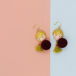 paramecium Fez [Kurt] Stone Sculpture clay earrings handmade original design Funny cute little fur ball tassels