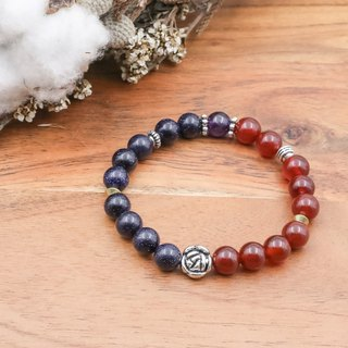 Midnight Rose | Red Agate Blue Sandstone Amethyst Natural Stone Bracelet