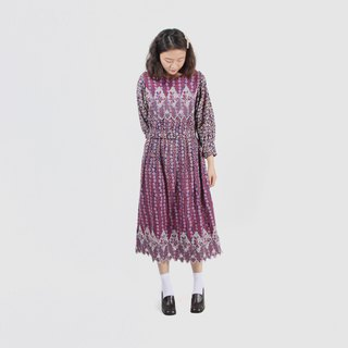 [Egg plant vintage] glazed sugar cubes thin hair embroidery printing vintage dress