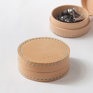 SEANCHY leather collar case, round case, Handmade for earphone, coin, jewelry...