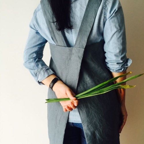Linen Pinafore - 100% linen Japanese Apron, No Tie Apron, Cross Back BLUE  BAYOU