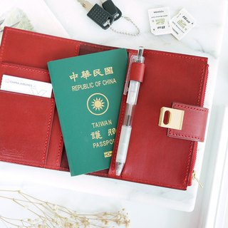 CHF04 Square Button Passport Holder Passport Holder Red Red
