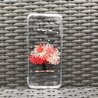 Samsung Galaxy S8 Handmade Pressed Flowers Case Red Tree case 026