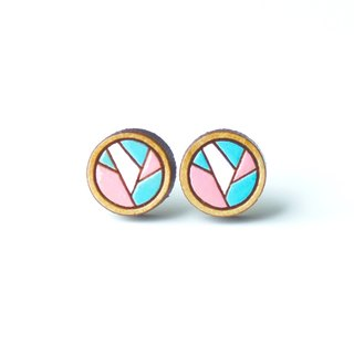 Painted wood earrings-Geometric circle (pink)
