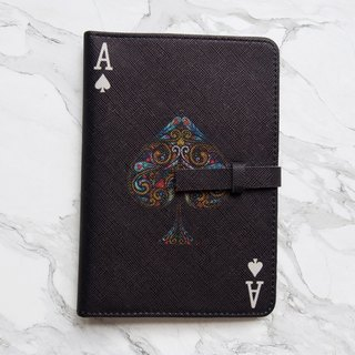 The Spade Card Passport Cover Case [Black] - The Magician Collection