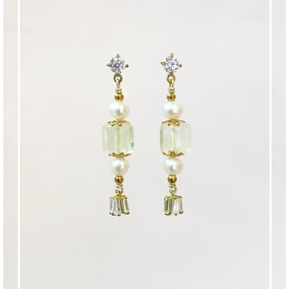 ∴Minertés = lemon yellow crystal ‧ ‧ zircon pearl earrings ∴