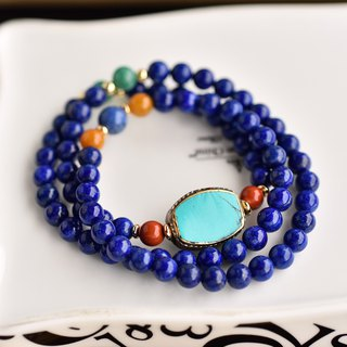 Lapis Lazuli + Tianhe Stone + Red Jasper Three Rings Brass Bead Bracelet