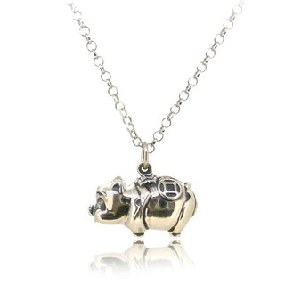 925 Sterling Silver Piggy Bank Shaped Pendant (length 18mm) w/ 18 inch Silver Nl