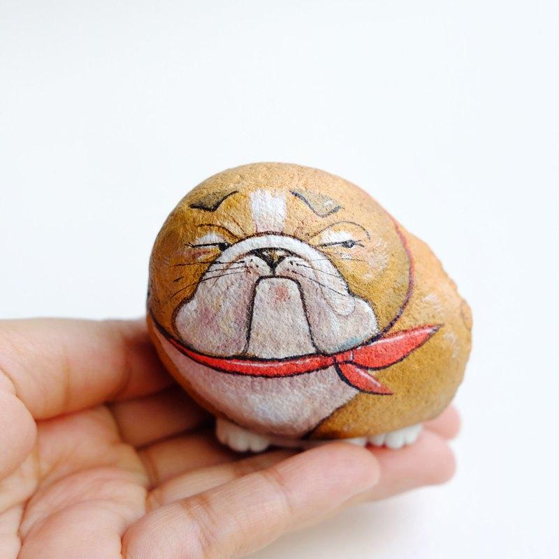 鬥牛犬石畫。