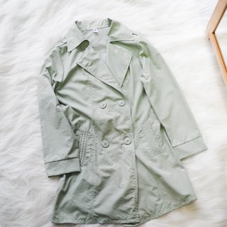 Fukushima pink green youth autumn time antique thin material windbreaker jacket trench_coat dustcoat