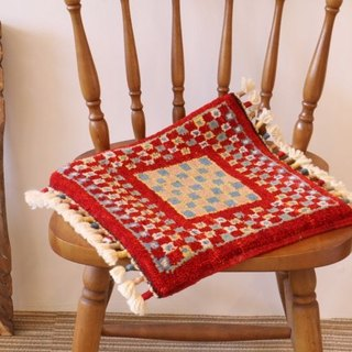 Handmade carpet small size for chair wool Red