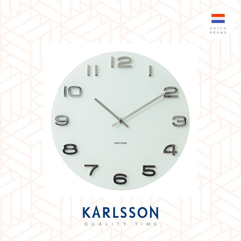 荷蘭Karlsson, 圓形Vintage 玻璃白色掛鐘