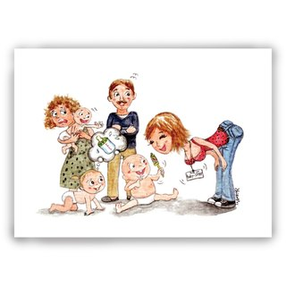 Hand-painted illustrations Multiplicated cards / cards / postcards / illustrations cards - business lines babysitter nurse babies
