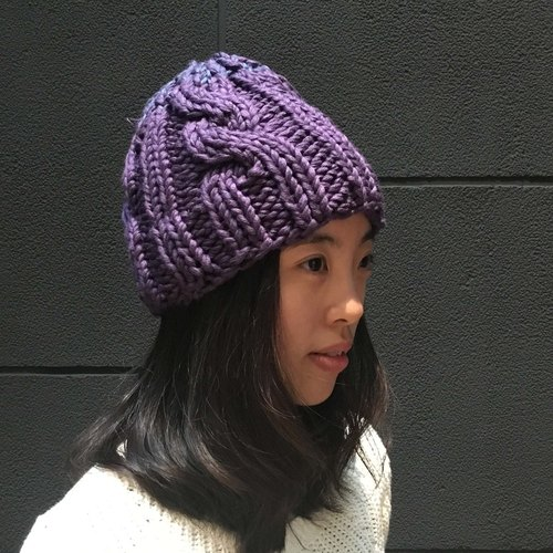 Woven purple and violet stitching strange Knitweird manual knitting caps
