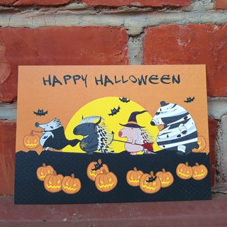 The little hedgehog halloween postcard