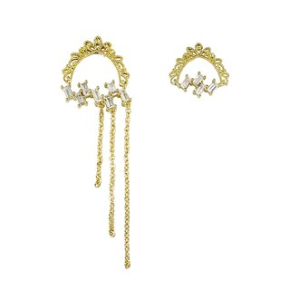 Lace. Classical Brass Asymmetric Earrings