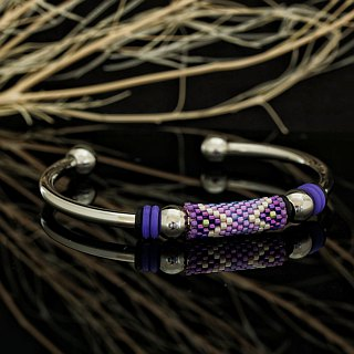 Aiko Bead with 4mm Stainless Steel Bangle Peyote-28
