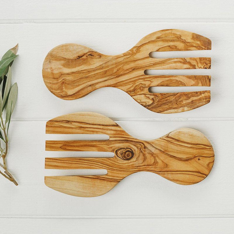 Naturally Med Fine Dining Kitchen Olive Wood Salad Stirring Fork and Spoon (a set of two)